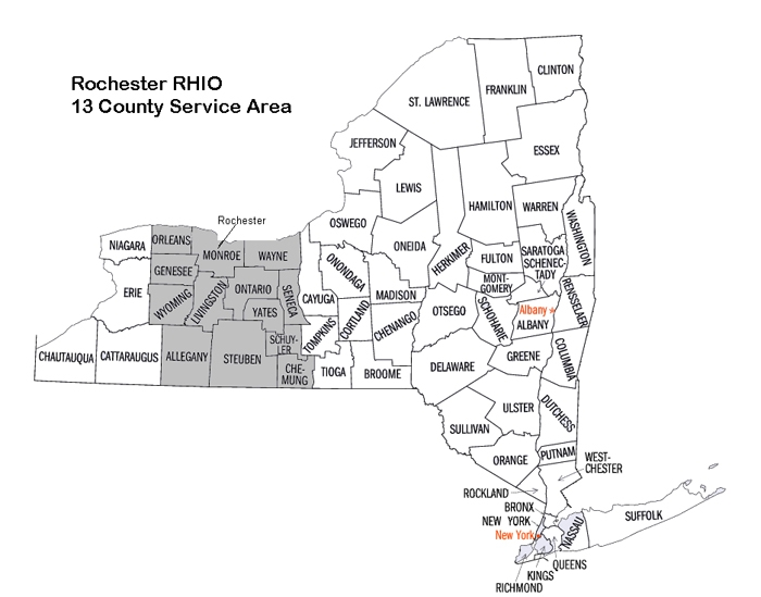 13 Counties of the Rochester RHIO Service Area